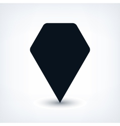 Black map pin flat location sign hexagon icon vector