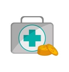 First aid kit and coins icon vector