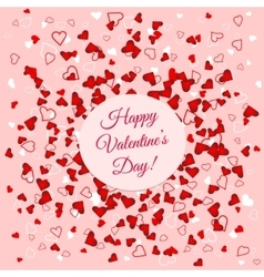 Valentines Day banner over scattered red and pink vector image