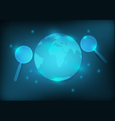 Earth and magnifier with blue background vector