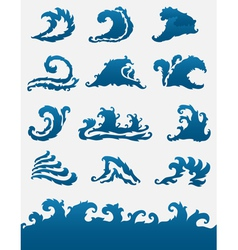 Decorative sea waves set vector
