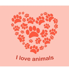 Heart animals footprints vector