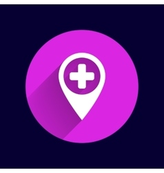 Map pointer icon with cross hospital first aid vector
