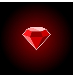 Red ruby gemstone icon on a black background vector