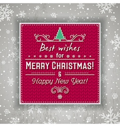 Red christmas background with label and greetings vector image