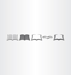 Open book icons set design elements vector