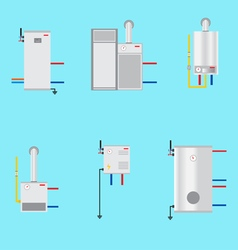 Different boilers icons set flat style electrical vector