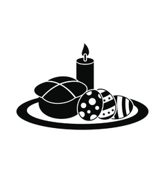 Easter cake with eggs and burning candle icon vector