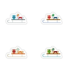 Set of paper stickers on white background sled vector