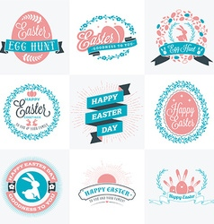 Set of happy easter label elements vintage holiday vector