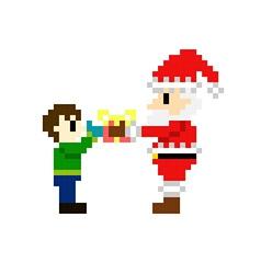 8bit pixel art santa claus vector image