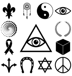 Religion esoteric and mystery icons set vector