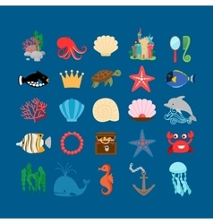 Underwater life and ocean animals vector