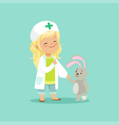 adorable baby girl doctor holding by hand her vector image vector image
