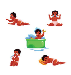 Black african american baby kid infant daily vector