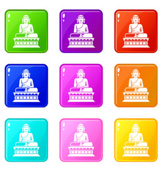 Buddha statue icons 9 set vector