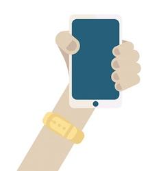 Cartoon hand holding smart phone with blank screen vector