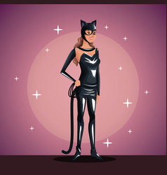 Cat woman in costume party in spotlight background vector