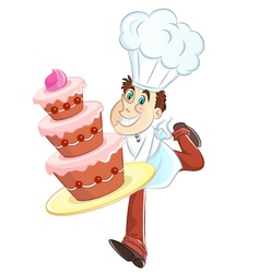 chef with a cake vector image