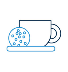coffee cup and cookie in dish food vector image