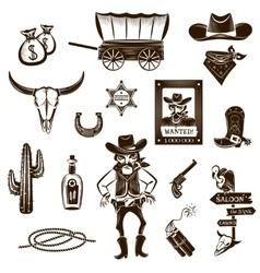 Cowboy black white icons set vector