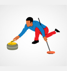 Curling game sport vector