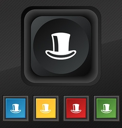 Cylinder hat icon symbol set of five colorful vector