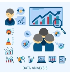 Data analysis concept flat icons composition vector