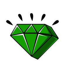 emerald crystal of a diamond shape comic vector image