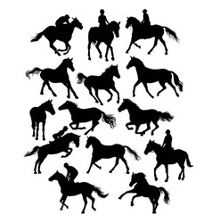 Equestrian sports and horse set silhouette vector