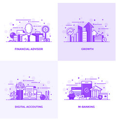 flat line purple designed concepts 5 vector image vector image