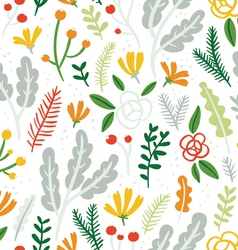 Flowers leaves and berries seamless pattern on vector image vector image