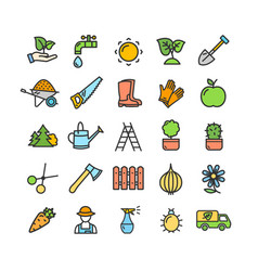 Gardening signs color thin line icon set vector