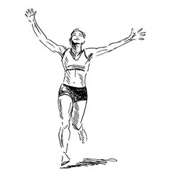 Hand sketch winning runner vector image