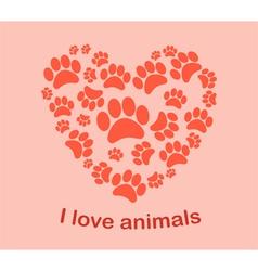 Heart animals footprints vector