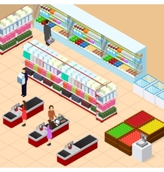 Interior Shop with Furniture Isometric View vector image