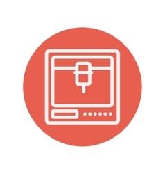 Isometric 3d printer thin line icon vector image