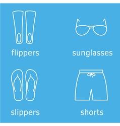Mens beachwear outline icon set vector