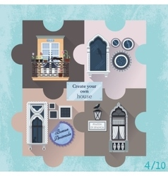 Set of four puzzles with windows vector image vector image
