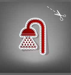 Shower sign red icon with for applique vector