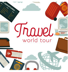travel and airplane world trip poster flat vector image