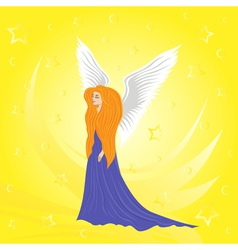 Woman angel on abstract yellow background vector