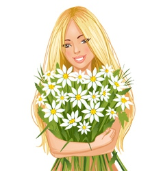 Young beautiful blond woman with bunch of flowers vector image