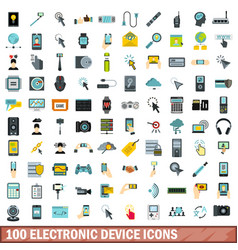 100 electronic device icons set flat style vector
