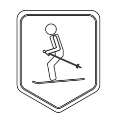Skiing pictogram icon shield emblem vector
