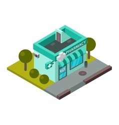 Pharmacy isometric building isolated vector