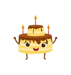 Layered birthday cake with candles and chocolate vector