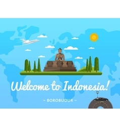 Welcome to indonesia poster with famous attraction vector