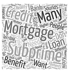 Subprime mortgages word cloud concept vector