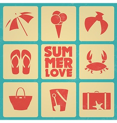 Vintage summer poster with icons retro colors vector